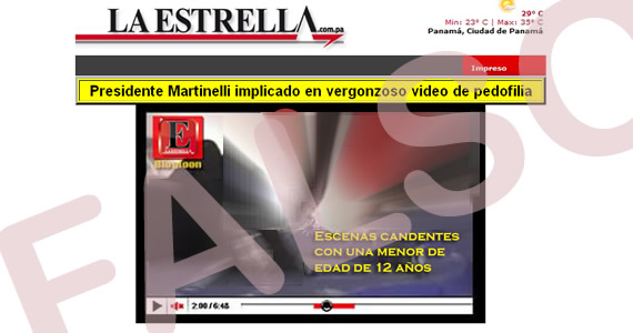 falso video Virus Troyano de FALSO  video de Pedofilia del Presidente Martinelli, ha causado conmoción en Panamá.